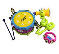 abordables -Batterie/Tambour set Ensemble d'instruments de musique jouet 5 pcs Vacances Instruments de Musique Amusement Plastique Pour Enfant Garçon Fille