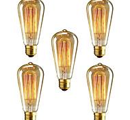 economico -5 pezzi 40 W E26 / E27 ST64 Bianco caldo 2300 k Retrò / Oscurabile / Decorativo Lampadina a incandescenza vintage Edison 220-240 V