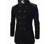 abordables -Homme Couleur Pleine Bloc de Couleur Automne Manteau Longue Quotidien Manches Longues Coton Manteau Hauts Noir