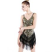 abordables -Danse latine Robe Paillette Gland Femme Utilisation Spandex Polyester / Samba