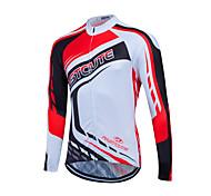 abordables -Fastcute Homme Femme Manches Longues Maillot Velo Cyclisme Hiver Coolmax® Polyester Rouge / Blanc Grandes Tailles Cyclisme Shirt Maillot Hauts / Top VTT Vélo tout terrain Vélo Route Respirable