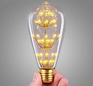 abordables -1 pc 3 W Ampoules à Filament LED 200 lm E26 / E27 ST64 47 Perles LED COB Décorative Étoilé Décoration de mariage de Noël Blanc Chaud 220-240 V