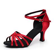 abordables -Femme Chaussures Latines Salon Chaussures de Salsa Danse en ligne Talon Talon Personnalisé Amande Rouge Noir Boucle