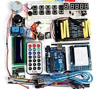 abordables -funduino avancé kit de démarrage moteur lcd servo matrice de points breadboard conduit pack élément de base compatible pour Arduino