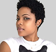 abordables -Mélange de cheveux humains Perruque Court Ondulé Ondulation Naturelle Coupe Lutin Baie Ondulation Naturelle Court Nature Noir Perruque afro-américaine Pour Cheveux Africains Fabriqué à la machine