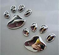 economico -coppia simpatico design zampa autoadesivo dell'automobile 3d animale cane gatto orso impronte piede impronta 3 m decalcomanie adesivi per auto argento