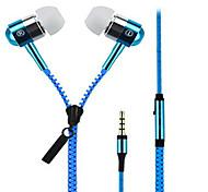 economico -Zipper Nell'orecchio Con filo Auricolari e cuffie Dinamico Aluminum Alloy Cellulare Auricolare Dotato di microfono cuffia