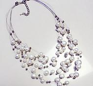 economico -Per donna Perle Collana di dichiarazione Multistrato Galleggiante Importante Donne Di tendenza Europeo Perla Bianco Collana Gioielli Per Casuale Quotidiano