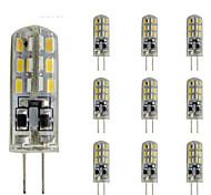 abordables -10 pcs 1.5w slim g4 led ampoule en cristal bi-broche 24 smd 3014 dc 12v vert bleu lumière rouge
