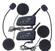 economico -vnetphone v6 ejeas v6pro 2pcs bluetooth casco da motociclista auricolare interfono 1200m impermeabile moto interphone cuffia sistema di comunicazione intercomunicador collegare fino a 6 piloti nero