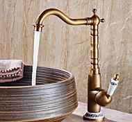 economico -rubinetto da bagno con maniglia singola, rubinetti da bagno con foro centrale in rame antico, rubinetto da bagno in ottone moderno / cod contiene con linee di alimentazione / regolabile per acqua fredda e calda
