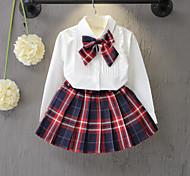 abordables -Bébé Fille Ensemble de Vêtements Tartan Manches Longues Noeud Ecole Quotidien Blanche Actif Normal