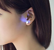 abordables -2pcs led boucle d'oreille allumer la couronne en cristal brillant en acier inoxydable oreille goutte oreille stud boucle d'oreille bijoux