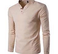 abordables -Homme T-shirt Graphique Couleur Pleine Manches Longues Quotidien Hauts basique Vert Véronèse Kaki