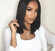 abordables -Perruque Synthétique Droit Kardashian Droite Partie médiane Perruque Moyen Noir Cheveux Synthétiques Femme Noir