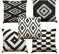 economico -set di 5 federa per cuscino in lino naturale / organico, plaid floreale in tinta unita casual retrò tradizionale / classico cuscino da tiro