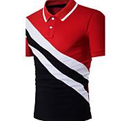 abordables -Homme Polo Bloc de Couleur Patchwork Manches Courtes Quotidien Hauts Coton Actif Sophistiqué Noir Rouge