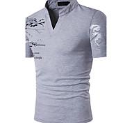 abordables -Homme Polo Graphique Imprimé Manches Courtes Quotidien Hauts Coton Actif Blanche Noir Rouge