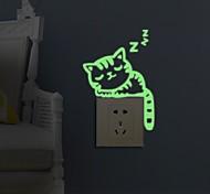 abordables -Animaux / Mode / Loisir Stickers muraux Autocollants muraux lumineux Autocollants d'interrupteurs, Papier Décoration d'intérieur Calque Mural Mur / Interrupteur Décoration 1 set