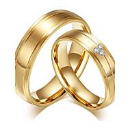 economico -Band Ring Zirconi Oro Placcato in oro 18k Zircone cubico Acciaio al titanio Vintage Stile semplice Di tendenza 5 6 7 8 9 / Da coppia / Anello / Matrimonio / Feste / Anniversario