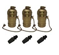 abordables -3 pcs e26 / e27 edison socle rétro pendentif porte-lampe en aluminium de style fermeture à glissière industrielle douille avec interrupteur marche / arrêt à chaîne