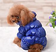 economico -Cane Cappottini Tuta Giacca di pelle Tinta unita Casual Tenere al caldo All'aperto Inverno Abbigliamento per cani Vestiti del cucciolo Abiti per cani Tenere al caldo Nero Rosso Blu scuro Costume per