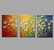 economico -dipinto a olio dipinto a mano - floreale botanico pastorale moderna tela tre pannelli 50 x 40 cm