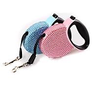 abordables -Chat Chien Laisses Portable Strass Plastique Nylon Bleu Rose