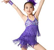 abordables -Danse latine Paillette Gland Entraînement Sans Manches Taille moyenne Spandex Pailleté / Spectacle / Salle de bal
