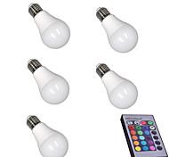 abordables -5pcs 5 W Ampoules LED Intelligentes 400 lm E26 / E27 A60(A19) 15 Perles LED SMD 5050 Intensité Réglable Commandée à Distance Décorative RGBW 85-265 V / RoHs
