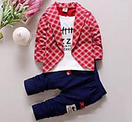 abordables -Bébé Garçon Ensemble de Vêtements Tartan Mosaïque Manches Longues Coton Rouge Jaune Gris Damier Normal