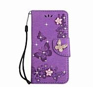economico -telefono Custodia Per Samsung Galaxy Integrale A3 A5 A7 (2017) A portafoglio Porta-carte di credito Con diamantini Farfalla Resistente pelle sintetica
