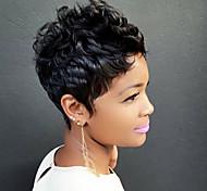 abordables -Mélange de cheveux humains Perruque Ondulé Classique Coiffures courtes 2020 Berry Classique Ondulé Fabriqué à la machine Noir Naturel Quotidien