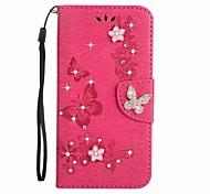 economico -telefono Custodia Per Samsung Galaxy Integrale J5 J3 J3 (2016) A portafoglio Porta-carte di credito Con diamantini Farfalla Resistente pelle sintetica