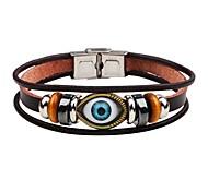 abordables -Bracelets en cuir Bracelet bonne chance Homme Cuir Mauvais œil Punk Bracelet Bijoux Marron pour Plein Air Scène