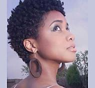 abordables -Mélange de cheveux humains Perruque Court Bouclé Frisé Jerry Coiffures courtes 2020 Berry Bouclé JheriCurl Perruque afro-américaine Pour Cheveux Africains Fabriqué à la machine Femme Noir Naturel
