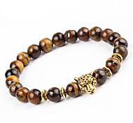 abordables -Bracelet à Perles Bracelet Homme Femme Onyx Hawks Eye Stone Chakra Naturel équilibre Bracelet Bijoux Marron Rond Léopard pour Soirée Cadeau