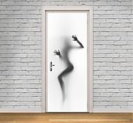 abordables -Les gens Stickers Muraux Salle de bain, Pré-coller Vinyle Décoration d'intérieur Stickers muraux