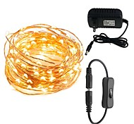 cheap -LED String Lights 10M 100 LEDs Waterproof Decorative Lights for Bedroom Patio Party 12V 3A Power Plug Adapter Connector Inline On/off Switch