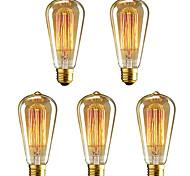 economico -5 pezzi 40 W E26 / E27 ST64 Bianco caldo 2200-2700 k Retrò / Oscurabile / Decorativo Lampadina a incandescenza vintage Edison 220-240 V