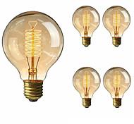 economico -5 pezzi 40 W E26 / E27 G80 Bianco caldo 2200-2700 k Retrò / Oscurabile / Decorativo Lampadina a incandescenza vintage Edison 220-240 V