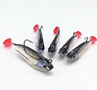 abordables -5 pcs leurres souples Jerkbaits Têtes plombées Affaissé Bass Truite Brochet Pêche en mer Pêche d'appât Pêche aux jigs