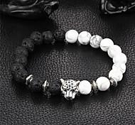 abordables -Bracelet de perles Bracelet Bracelet bonne chance Femme Onyx yin yang Naturel Bracelet Bijoux Noir Rond Léopard pour Soirée Cadeau