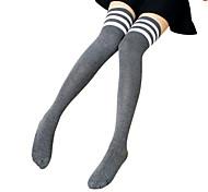abordables -Écolières Femme Lolita Chaussettes / Bas Chaussettes longueur cuisses Blanc Noir Gris Rayé Rayure Au dessus des genoux Coton Accessoires Lolita  / Haute élasticité