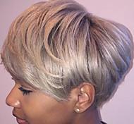 abordables -Mélange de cheveux humains Perruque Court Droit Coiffures courtes 2020 Droite Court Partie latérale Fabriqué à la machine Femme Noir Naturel Argent Auburn 20 CM