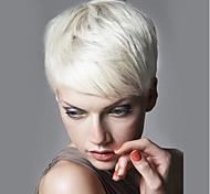 abordables -Mélange de cheveux humains Perruque Court Droit Coiffures courtes 2020 Droite Court Partie latérale Fabriqué à la machine Femme Noir Naturel Blanche Blonde / Bleached Blonde 20 CM