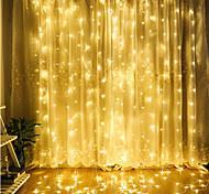 abordables -décoration de noël fenêtre rideau guirlande lumineuse 3x3m 300 led 8 modes d'éclairage télécommande pour noël chambre à coucher maison fête de mariage décoration lampes de glaçons