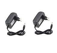 cheap -2pcs 12 V US / EU ABS+PC Power Adapter for LED Strip light