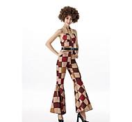economico -Nappa Vintage Anni '60 Hippie Anni '70 Vestito da Serata Elegante Tipo Funk Per donna Lustrini Costume Beige Vintage Cosplay Senza maniche Slip / Discoteca