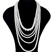 economico -Per donna Collana a strati collana lunga Donne Asiatico Di tendenza Oversize Perle finte Bianco Collana Gioielli Per Cerimonia Graduazione Promettere Costumi Cosplay